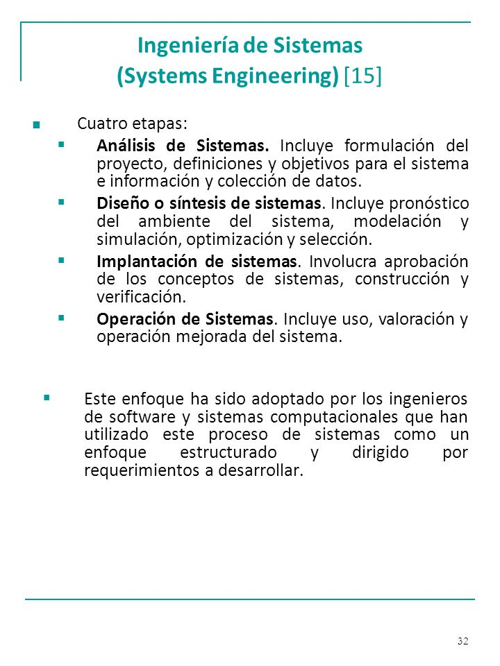 Ingeniería de Sistemas (Systems Engineering) [15]